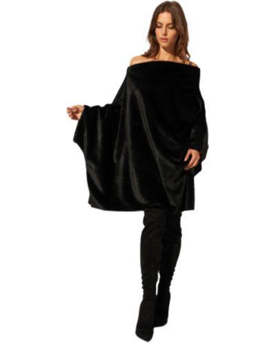 Ponczo z futerkiem - czarny Caha