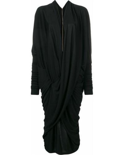 Черное драповое приталенное платье миди на молнии Poiret