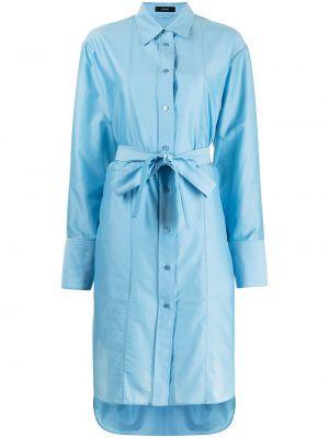Шелковое платье макси - синее Joseph