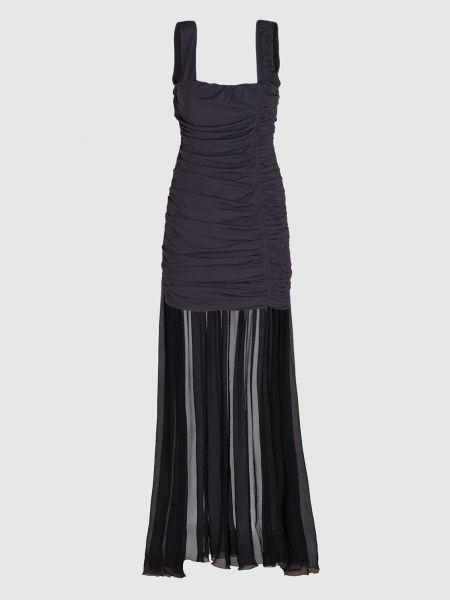 Шелковое черное платье мини со шлейфом Blumarine
