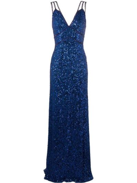 Niebieska sukienka z wiskozy bez rękawów Jenny Packham