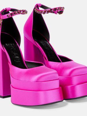 Розовые кожаные туфли Versace