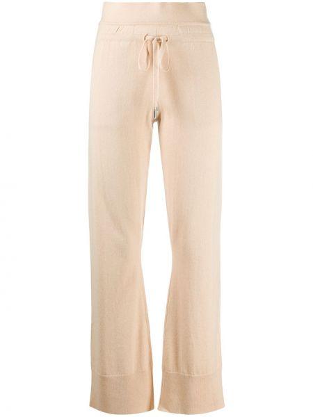 Шерстяные коричневые спортивные брюки с карманами с высокой посадкой Max & Moi