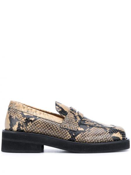 Skórzany czarny loafers na pięcie plac Marni