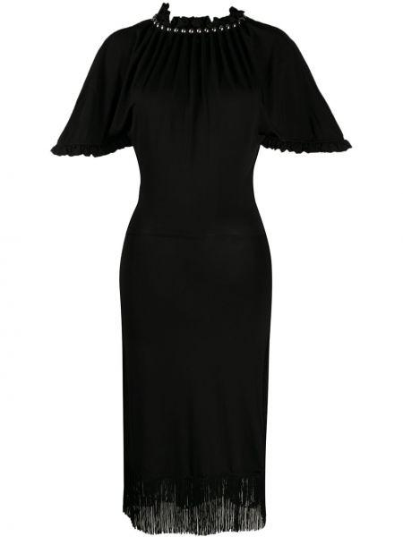 Черное шелковое платье с рукавами с бахромой с воротником Paco Rabanne