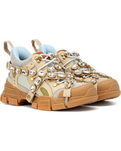 Кожаные кроссовки бежевые оверсайз Gucci