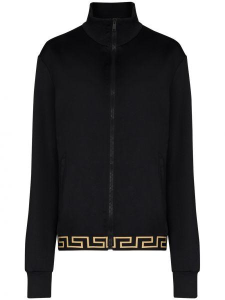 Черная спортивная куртка на молнии с воротником Versace