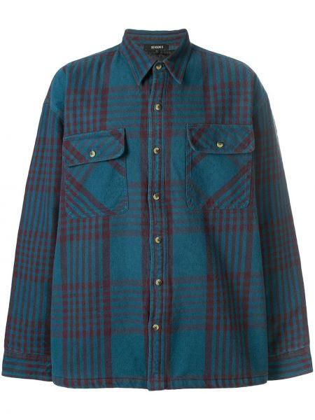 Niebieska klasyczna koszula bawełniana z długimi rękawami Yeezy