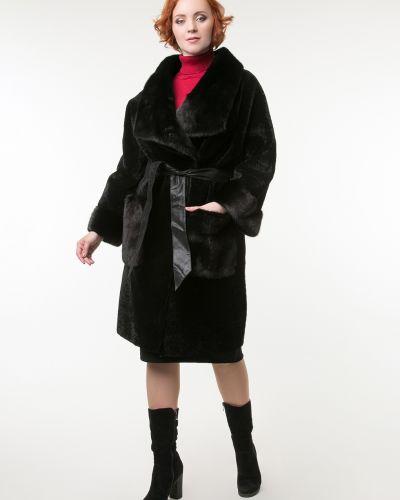 Прямое черное пальто с воротником Aliance Fur