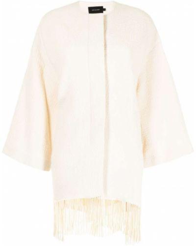 Белое пальто с бахромой Low Classic
