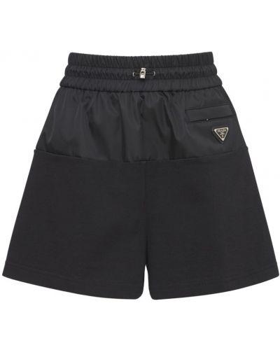 Шорты с карманами - черные Prada