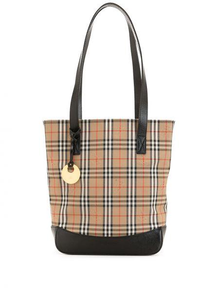 Коричневая парусиновая сумка шоппер на молнии с подвесками Burberry Pre-owned