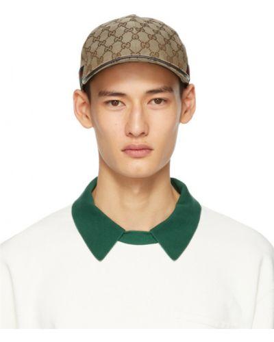 Bawełna skórzany czarny czapka baseballowa z paskami Gucci