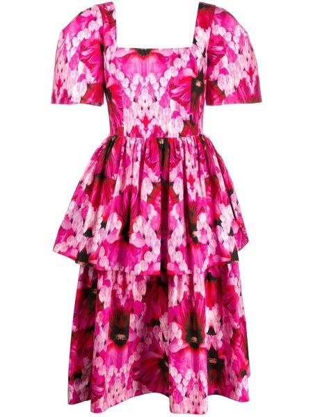 Розовое платье миди с вырезом квадратное Alexander Mcqueen