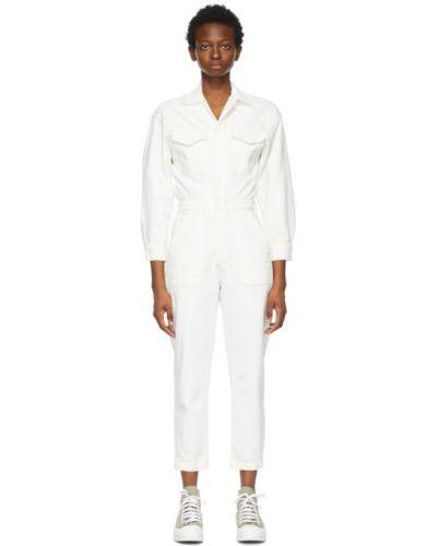 Белый джинсовый комбинезон с карманами с длинными рукавами Citizens Of Humanity