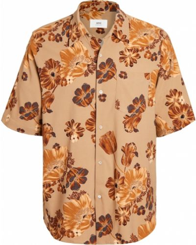 Beżowa koszula krótki rękaw z wiskozy Ami