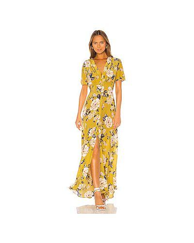 Платье макси на пуговицах желтый Yumi Kim