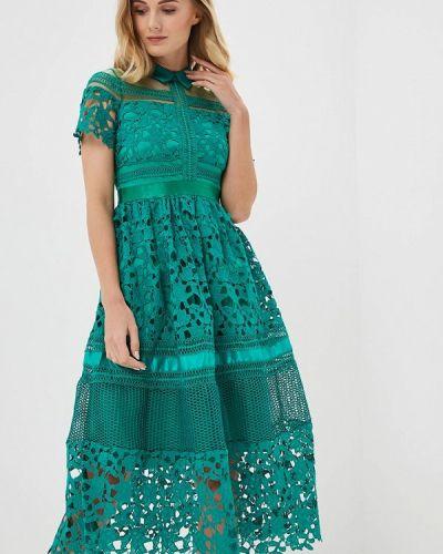 Вечернее платье осеннее зеленый Paccio