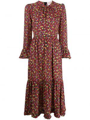 Красное платье миди на молнии с вырезом круглое La Doublej