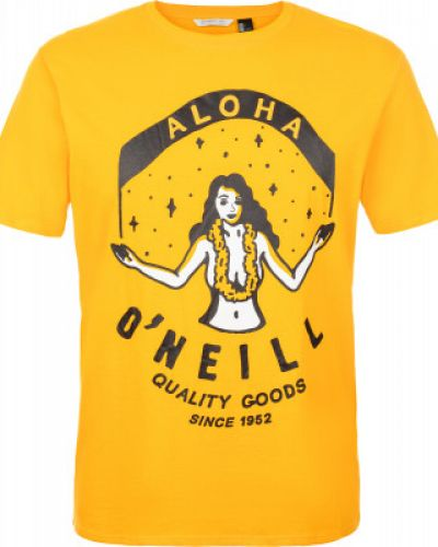 Прямая хлопковая желтая спортивная футболка O`neill