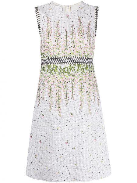 Шелковое белое платье с вышивкой Giambattista Valli