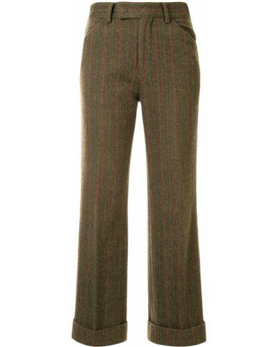 Зеленые шерстяные прямые укороченные брюки на молнии Comme Des Garçons Pre-owned