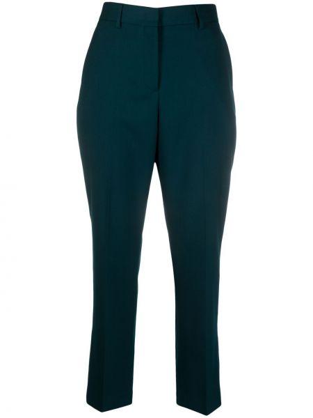 Зеленые шерстяные прямые укороченные брюки Paul Smith
