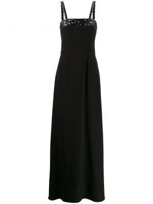 Шелковое черное платье с пайетками Emilio Pucci