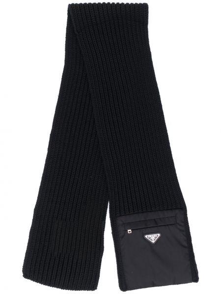Wełniany szalik z kieszeniami Prada