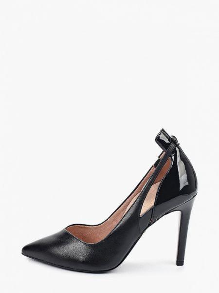 Кожаные туфли черные лодочки Heart & Sole By Tamaris