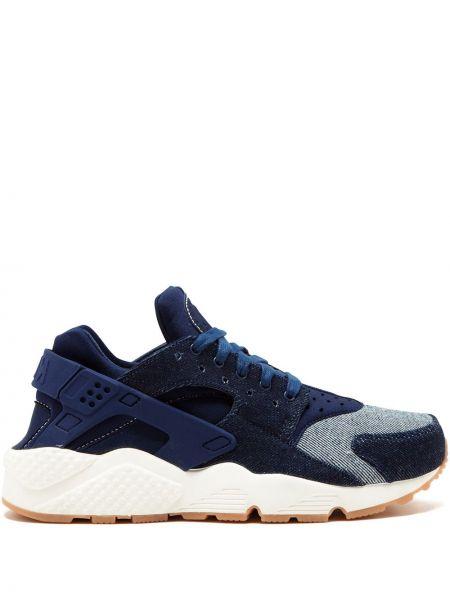 Niebieski koronkowa sneakersy na sznurowadłach okrągły Nike