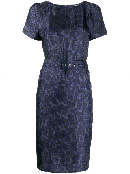 Шелковое синее платье миди с поясом Bally