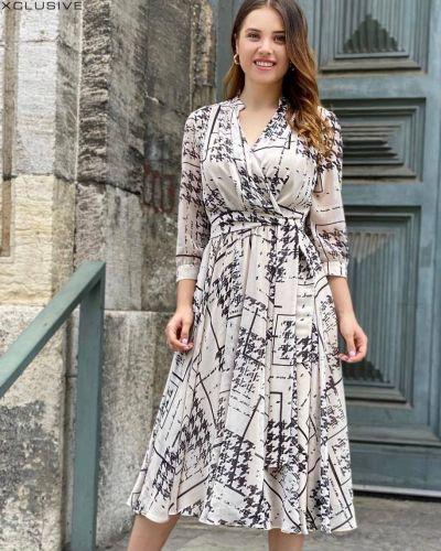 Шифоновое платье миди - черное Espiga