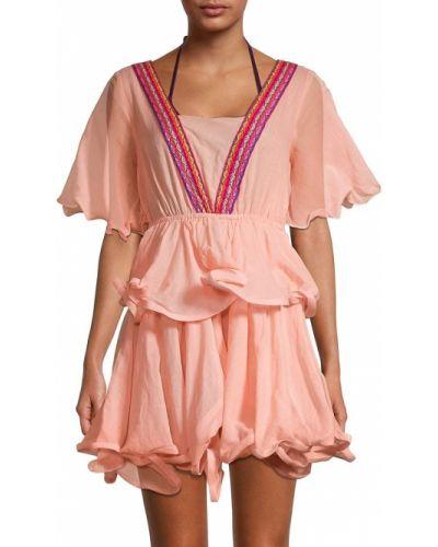 Оранжевое платье мини с декольте в полоску Pitusa