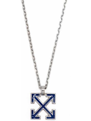 Ażurowy niebieski naszyjnik z akrylu Off-white