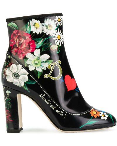 Ботильоны на шпильке кожаные Dolce & Gabbana