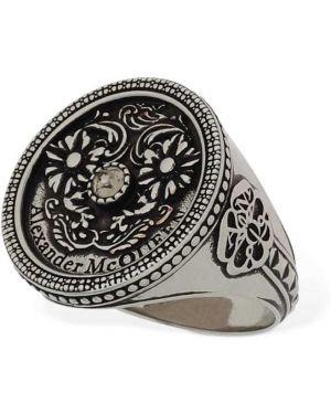 Pierścień srebro z logo Alexander Mcqueen