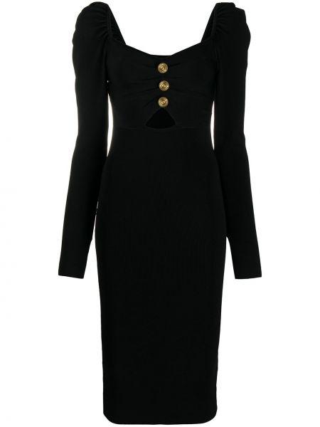 С рукавами черное приталенное платье макси из вискозы Versace Jeans Couture