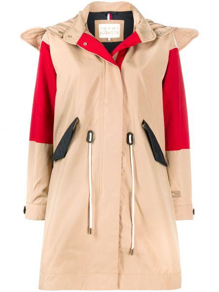 Бежевое пальто классическое с капюшоном на пуговицах Tommy Hilfiger