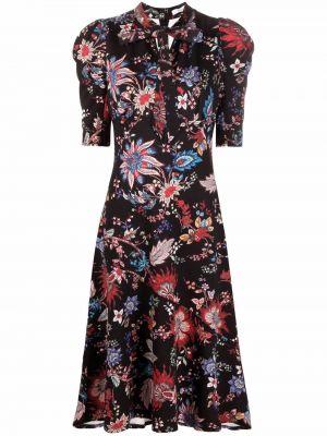 Czarna sukienka mini w kwiaty Erdem
