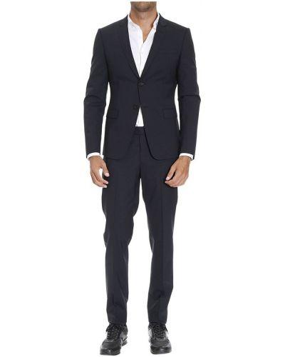 Klasyczny szary garnitur ze spodniami w kratę Emporio Armani