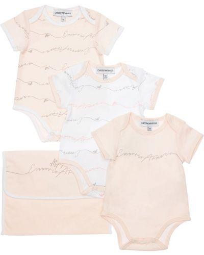 Ватное с рукавами хлопковое розовое боди Emporio Armani