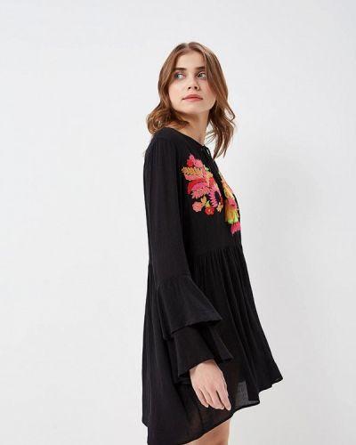 Черное платье с длинными рукавами Glamorous