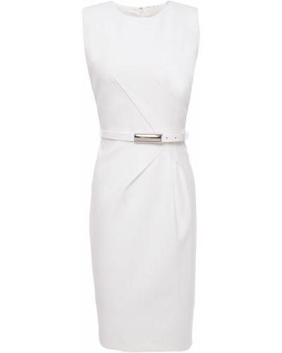 Плиссированное бежевое платье с поясом Elie Tahari