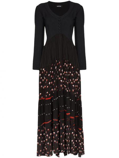 Черное классическое вечернее платье в рубчик на молнии Rockins