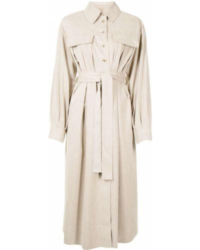 Платье миди на пуговицах - коричневое Goen.j