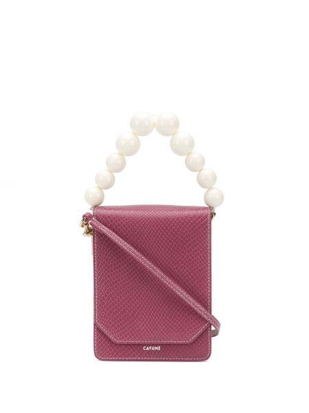 Różowa torebka skórzana perły Cafuné