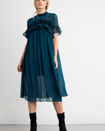 Вечернее платье осеннее синее Lost Ink.