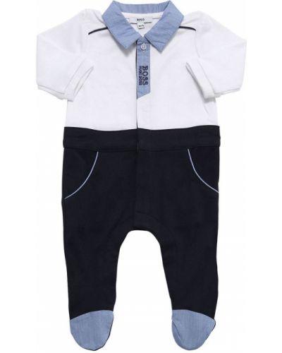 Z rękawami bawełna bawełna biały pajacyk Hugo Boss