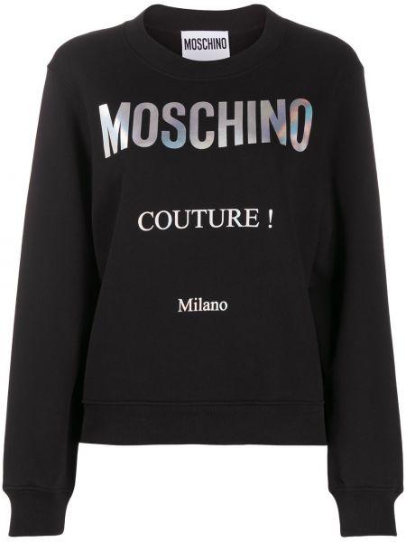 Czarna bluza z długimi rękawami bawełniana Moschino